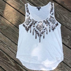 Express white top with sequins. Size small